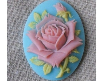 12 pcs of vintage pink rose cameo 30x40mm -0400-pink rose on aqua