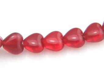 50 pcs strand of Czech glass heart beads 6x6mm-9007-27 Siam Ruby