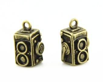 12 pcs metal camera charm-14x10x10mm-1265-antique bronze-B