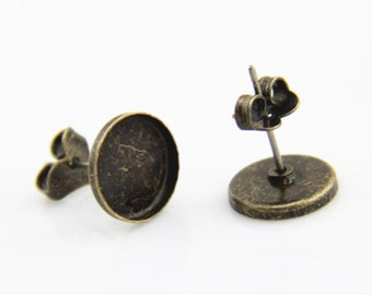12pcs or 6 pairs of brass ear post for 10mm mounting setting-4521-antique bronze