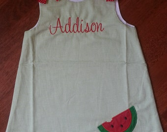 Green Gingham Personalized Dress