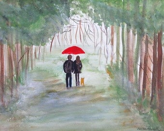 Couple under red umbrella, original watercolor painting 12 x 9 inch couple in love