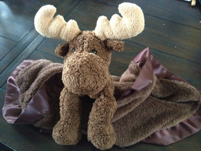 security blanket lovie max the moose with satin binding