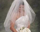 Elbow Bridal Veil 2 Layer Wedding Veil 34 with Blusher 24 Two Layer Bridal Veil Pencil Edge Trim 3 Light Layers Ivory Bridal Veil White Veil