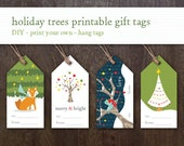 Instant Download Printable Holiday Gift Tags - Holiday Trees Hang Tags - DIY print your own - Children's Christmas Gift Labels