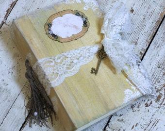 Yellow shabby chic wedding guest book ,journal or photo album scrapbook - custom made 8.5x6 inches