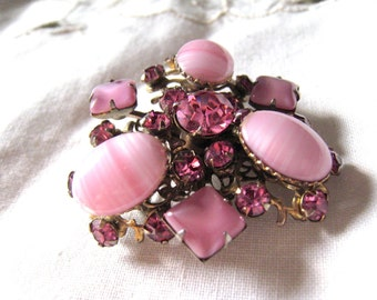 Vintage Pink Striated Art Glass Cabochons  and Rhinestone Brooch Pin, Silver Tone Wedding Jewelry, Bridal