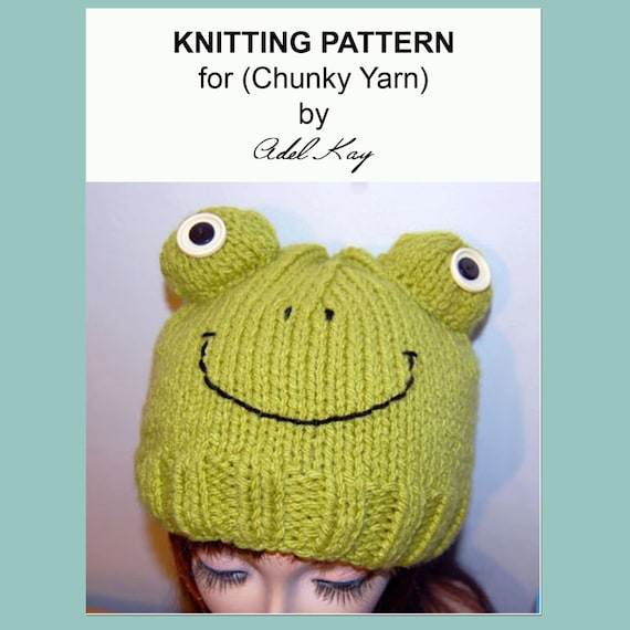 Knitting Pattern For Frog Hat : Knitting Pattern PDF Document Fraser Frog Beanie Ski Hat