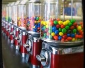 Gumball Machine photographic art print viewfinder 5X5 Candy Gum Colorful Penny Candy red green yellow blue