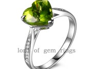 VS 8mm Peridot .41ct Diamond Real 14K White Gold Pave Halo Engagement Ring 4.10g for size 6.5