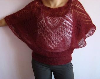 Women blouse - sweater from Silk mohair yarn