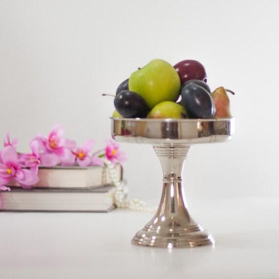 Items similar to fruit bowl pedestal vintage silver