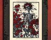 skeleton with roses print skull red roses art death and love eternal print
