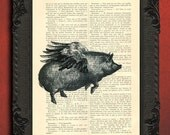 Flying pig with wings pig art print piggy decor poster, pig decorations when pigs fly illustration
