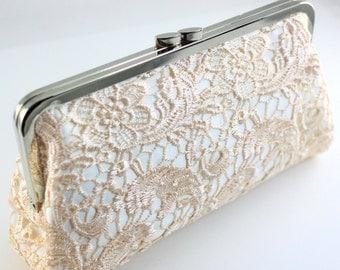 Bridal Clutch / Wedding Clutch - Blush Pink Lace Clutch