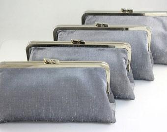 Dupioni Silk Silver Bridesmaid Clutches / Wedding Clutch / Wedding Party Gift - Set of 5