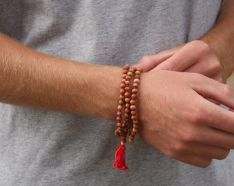 6mm Sandalwood Mala  - Meditation Inspired Yoga Beads BOHO jewelry/necklace / mala beads