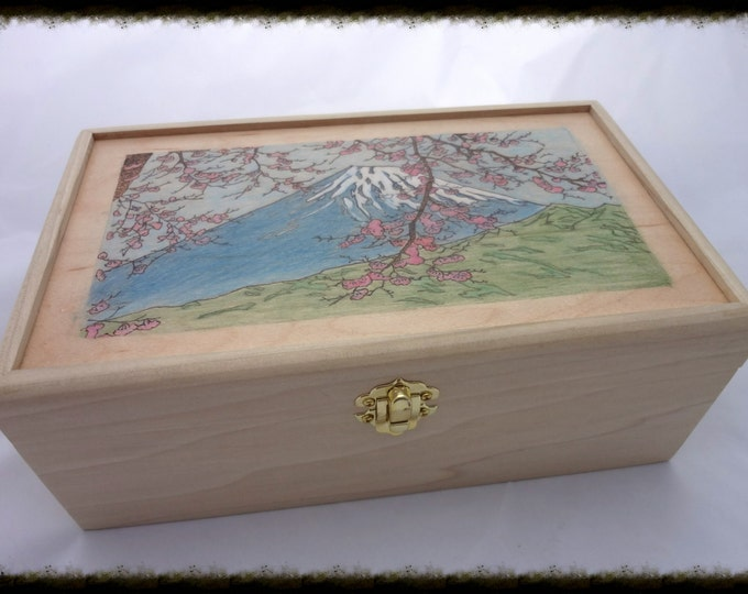 Mt. Fuji Japan Cherry Blossom Box - MADE TO ORDER