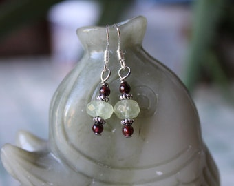 Small Green and Red Garnet Earrings, sterling silver hook