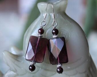 Rectangle Purple Quartz Earrings, sterling silver hook