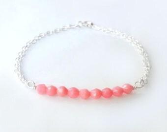 Pink Coral Bracelet - Beaded Coral Bracelet - Dainty Strand Bracelet - Simple Layering Bracelet - Beach Jewelry - Delicate Petite Bracelet