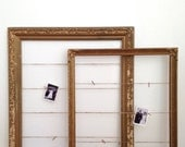 Vintage Gold Frame Set with Twine and Glittered Clothespins (large sizes, set of 2)