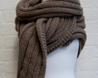 Extra Long Scarf in Walnut/ Chunky Knit scarf/  Knitted Wrap,