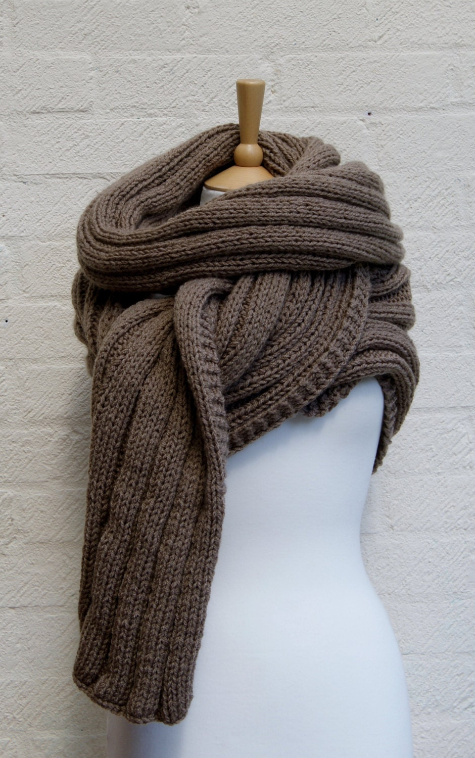 Knitting Chunky Scarf : Extra long scarf in walnut chunky knit knitted wrap