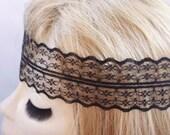 Black Lace headband Hippie Headband Hair Bands Boho Headband Lace headband