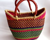 Elephant Grass Basket hand - made in Ghana - Picnic Basket - Beach Tote - Leather Handles