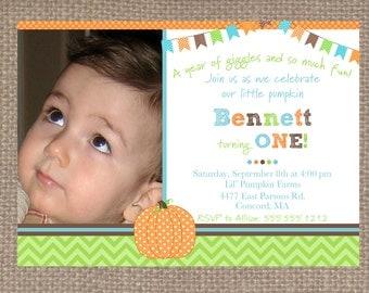 Little Pumpkin 5x7 Printable Invitation by Marbella Designer Party Printables