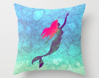 Disney's Ariel The Little Mermaid Watercolor Decorative Pillow with Insert, Ariel Pillow with insert, Ariel Cushion with insert