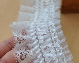 white ruffled trim, ruffled lace fabric, chiffon ruffled lace trim,  weddin decors