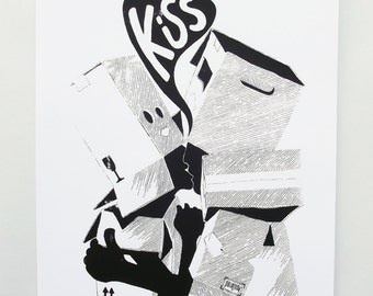 Romeo & Juliet : THE KISS screenprints [black and white]