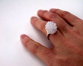 Bead and Wire Ring - White Bead & Silver Plated Wire
