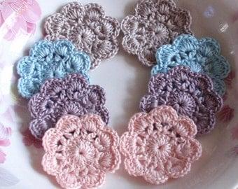 8 Crochet  Flowers In 1-3/4 inches YH - 166-01