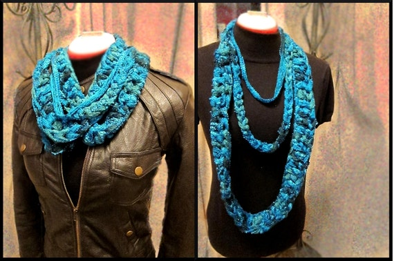 Hand Crochet Infinity Sparkle Scarf Teel Blue 3 Layers