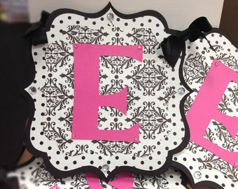 Handmade Black Damask Banner For Birthday, Baby Shower, Bridal Shower or Any Occassions