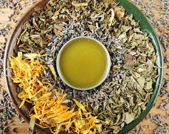 SALVE+ATION Organic Herbal Salve - Comfrey, Plantain and Calendula with Tea Tree and Lavender Oils - Small 1oz tin