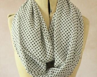 Chiffon - Large Infinity scarf - Eternity scarf, Circle scarf, Chiffon scarf, Tube scarf, Snood  - White Polka Dots