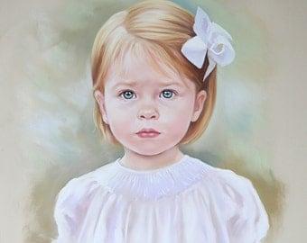 Pastel portrait commission of a child, 19.5x19,5 inches
