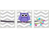 Owl Nursery Wall Art Print Set  -  Chevron Gray Purple Pink Tree Woodland Nursery - Modern Baby Girl Room Home Decor Set   Prints
