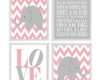 Elephant Nursery Art, Chevron Elephant Nursery Prints, Baby Girl Wall Art, LOVE print, Baby Girl Nursery Decor Girl Rules Quote Art,