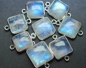 925 Sterling Silver,RAINBOW MOONSTONE Smooth Cushion Shape Connector,5 Piece 17-18mm approx
