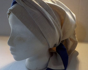 100% Beige Linen Long Head Band Scarf with Long Royal Blue & Beige Ties