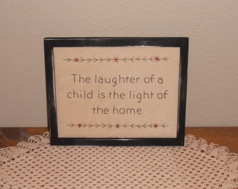 """Primitive Stitchery, """"The Laughter of a Child"""", Hand Stitched Sampler, Rustic, Baby Shower Gift, Country Home Decor"""