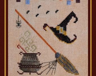 """Halloween Cross Stitch Instant Download Pattern Counted Embroidery """"Tools Of The Trade"""" Design Witch Hat Broom Cauldron Spider Web XStitch"""