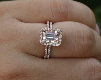 DEEP DISCOUNT LIMITED Time Rose Gold Morganite Engagement Ring And Diamond  Wedding Band Bridal Set In
