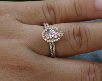 morganite engagement ring diamond wedding ring set in 14k rose gold 9x6mm pink peach morganite and half diamond eternity band - Teardrop Wedding Ring