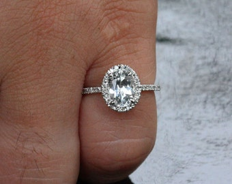White Topaz Engagement Ring Diamond Ring, 14k White Gold with White Topaz Oval 10x8mm and Diamond Halo